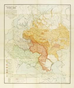 La famiglia delle lingue russe: mappa del 1914