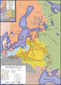 Le operazioni della grande guerra del Nord. Narva, la strategica fortezza svedese, è ben indicata sul Golfo di Finalndia