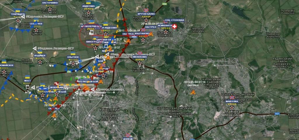 L'area a nord ovest di Donetsk: la zona dei combattimenti del 2 e 3 maggio