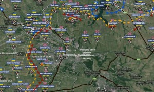 La linea del fronte intorno a Gorlovka