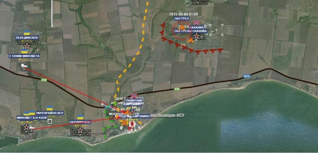 La linea del fronte sul mare di Azov, presso Shirokino.