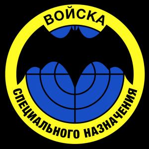 """Il logo che dice """"Forze Speciali Russe"""", con il simbolo del GRU: un pipistrello."""