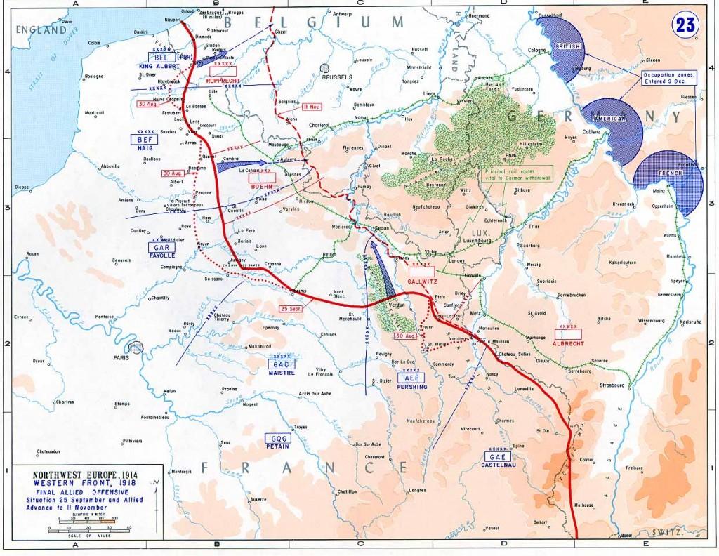 Il fronte occidentale nelle ultime fasi della guerra. Il rosso tratteggiato indica la linea armistiziale