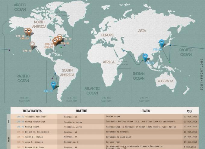 Posizione delle portaerei americane aggiornata al 23 Ottobre 2015
