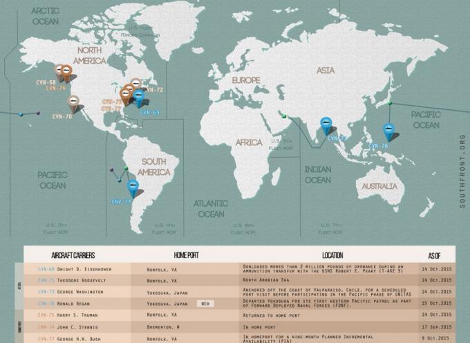 Posizione delle portaerei americane aggiornata al 16 Ottobre 2015