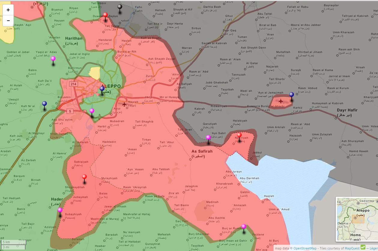 Forze schierate intorno ad Aleppo il 3 novembre. In rosa scuro le conquiste dei lealisti; in grigio scuro le conquiste dei Califfato dall'inizio della battaglia (primi di ottobre). Tutti i progressi sono a spese dei ribelli filo occidentali;