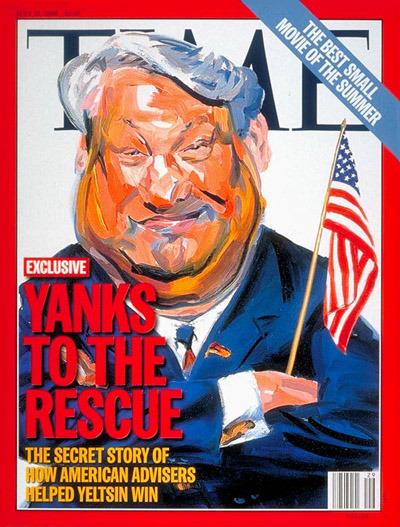 Nell'edizione del 15 luglio 1996, il Time illustra l'ingegnerizzazione occidentale di una votazione fraudolenta.