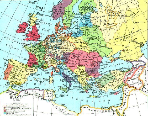 L'Europa nel 1360: il territorio dell' attuale Ucraina è conteso da Russi, Tatari e Polacco Lituani