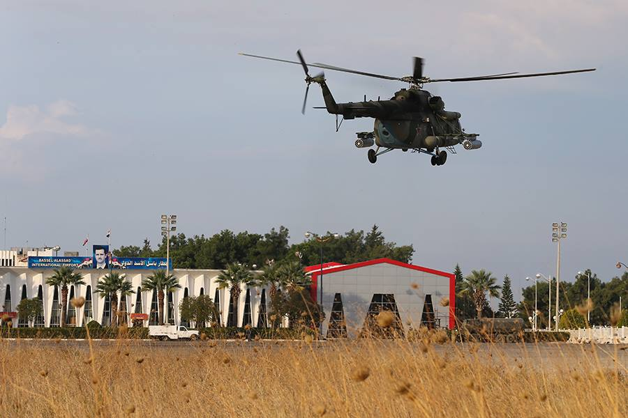 """The Mi-8AMTSH reportedly carry the """"Rychag-AV"""" active jamming station."""