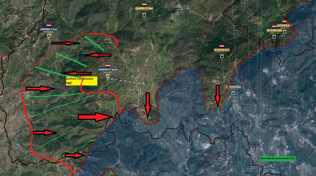 Latakia, lato nord del fronte 23-1-2016