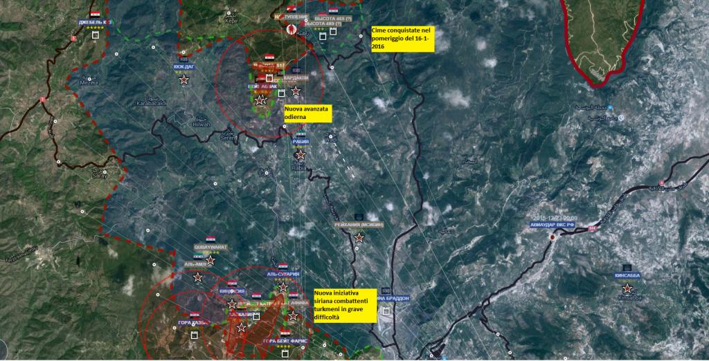 Latakia 17-1-2016  fronte sud e nord le due offensive