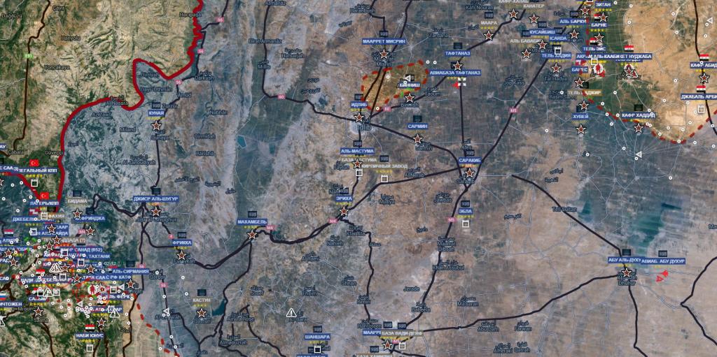 Idlib 2-3-2016 a destra in alto a destra i territori liberi a sud di Aleppo
