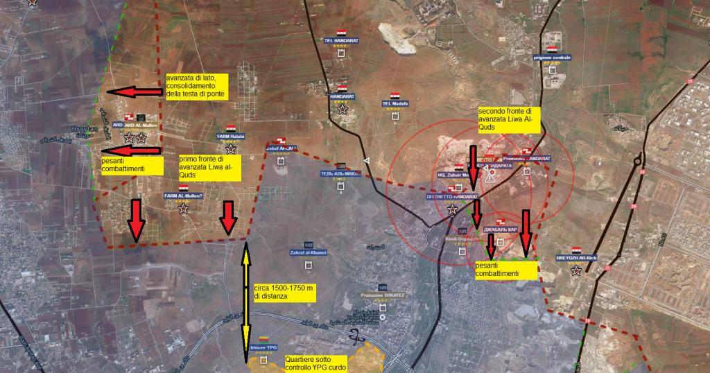 Aleppo, periferia nord, offensiva Liwa al-Quds del 14-4-2016