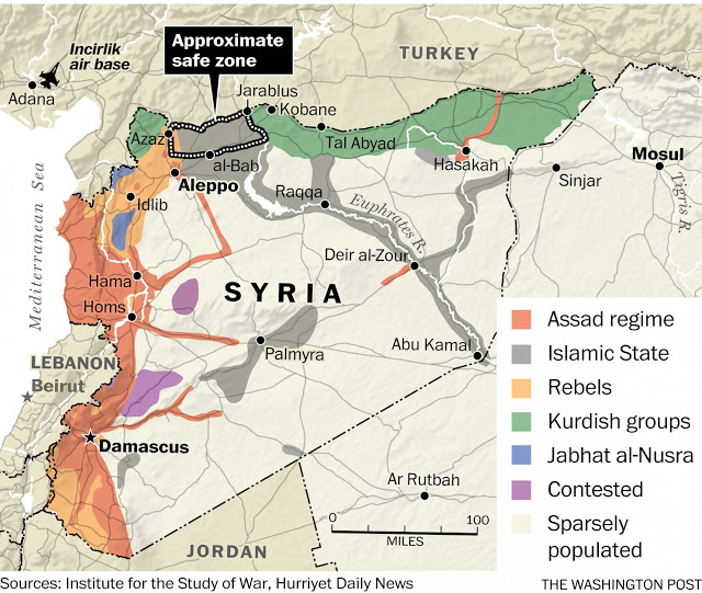 Immagine: Per anni è stato chiaro che l'unico posto nel quale la NATO cerca di stabilire una zona protetta è uno degli ultimi corridoi rimasti per rifornire l'ISIS ed Al-Qaeda dentro la Siria