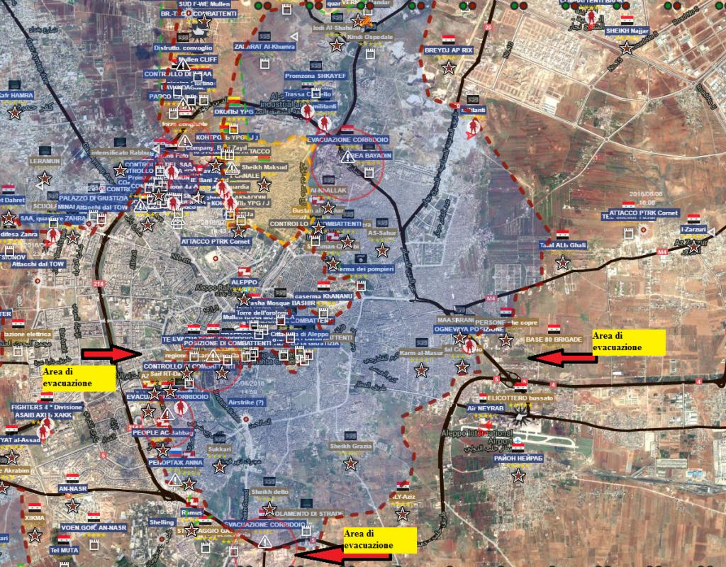 Aleppo , le zone di evacuazione 28-7-2016