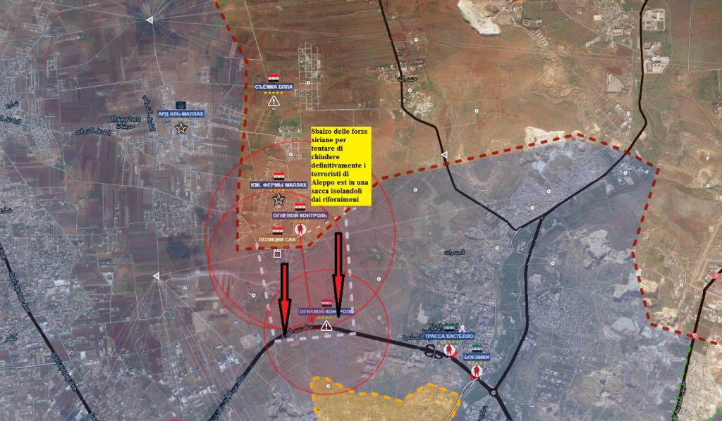 Aleppo, nord, situazione di stamane dopo la conquista delle mallah farms sud 7-7.2016