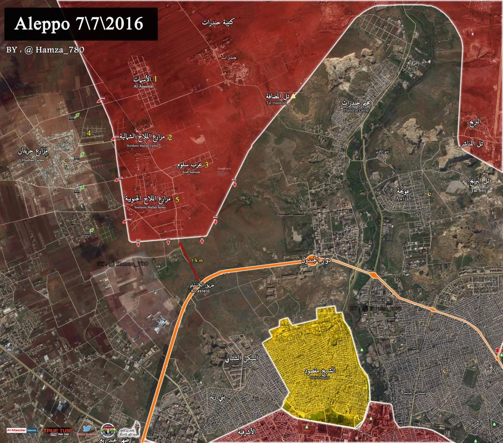 Altra mappa diffusa, questa arriva dalle pagine di Al-masdar 7-7-2016