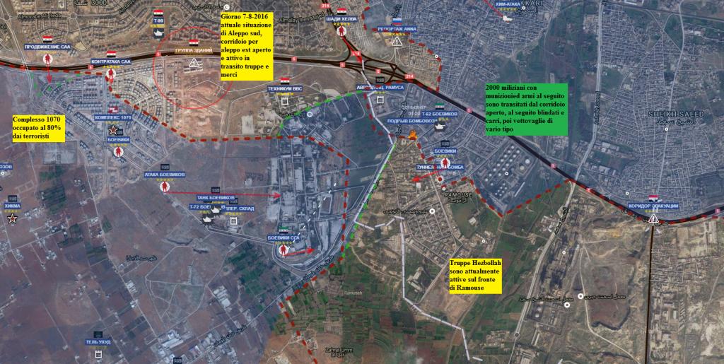 Aleppo sud situazione nel pomeriggio del 7-8-2016