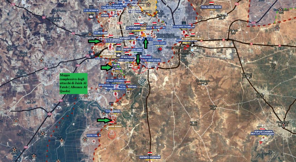 Aleppo 2-8-2016, la mappa che riepiloga gli attacchi Qaedisti