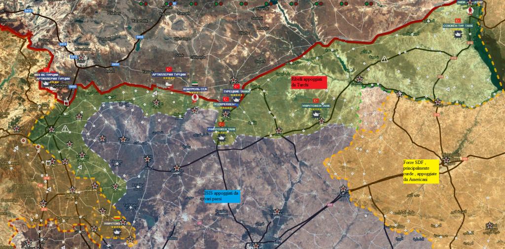 Aleppo nord 12-9-2016 situazione dei fronti Turchi-Isis-Curdi