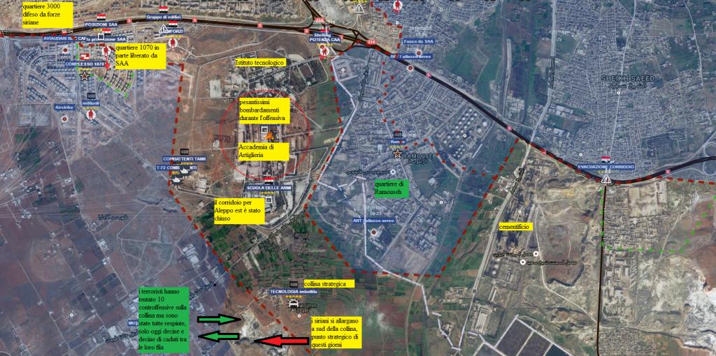 Aleppo sud situazione dettagliata 4-9-2016