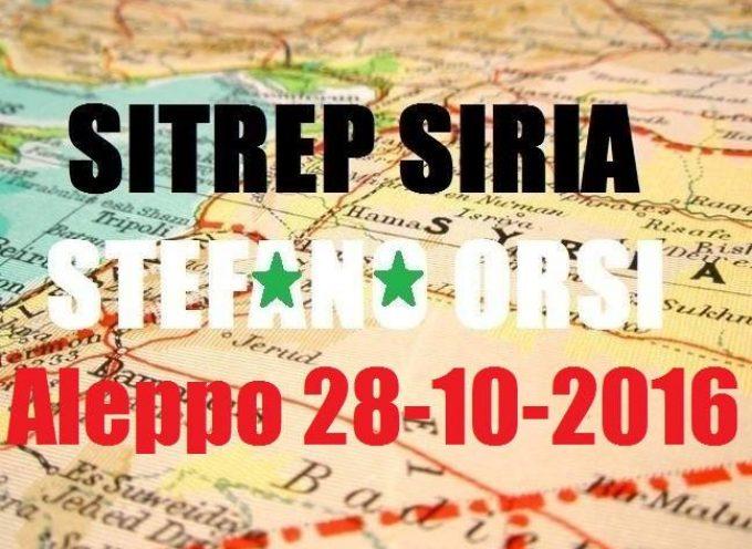 Situazione operativa sui fronti siriani, aggiornamento flash del 28-10-2016