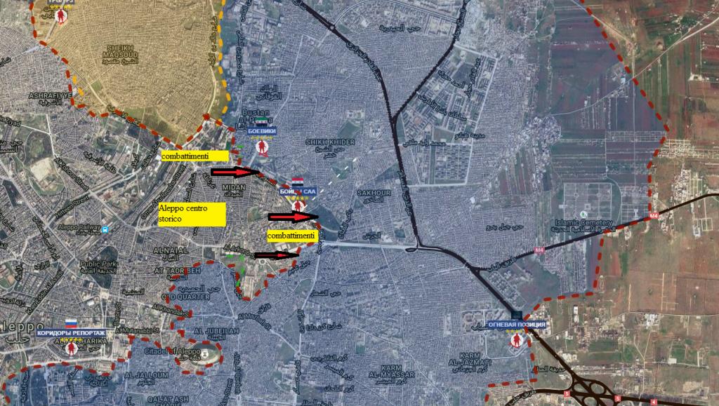 Aleppo, i combattimenti nel fronte del centro cittadino 8-10-2016