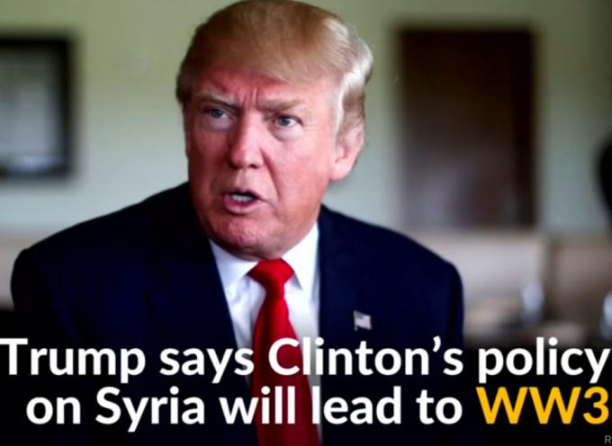 Lo ha detto! Donald Trump accusa Hillary Clinton di cercare la Terza Guerra Mondiale.