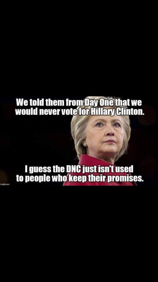 Gli abbiamo detto fin dal primo giorno che non avremmo votato Hillay Clinton. Immagino che il Congresso Nazionale Democratico non sia abituato a gente che mantiene le promesse.