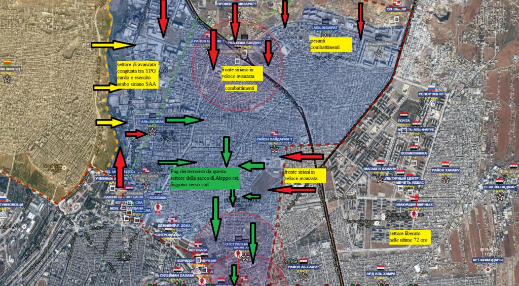 Aleppo est, la fuga dei terroristi dal settore nord della sacca 27-11-2016 ore 17.30