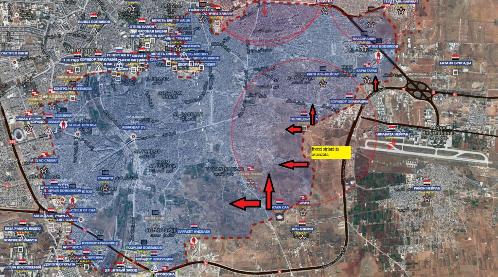 Aleppo est , il fronte di avanzata siriana a sud della sacca 27-11-2016