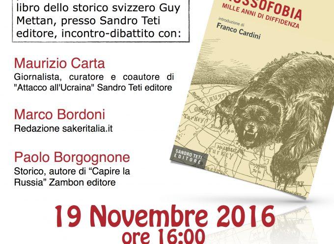 """Incontro di Bologna in occasione della recensione del libro: """"Russofobia, mille anni di diffidenza"""""""