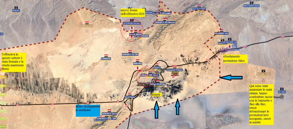 Palmira, i nuovi attacchi e il ritiro delle linee siriane 10-12- 2016 la sera