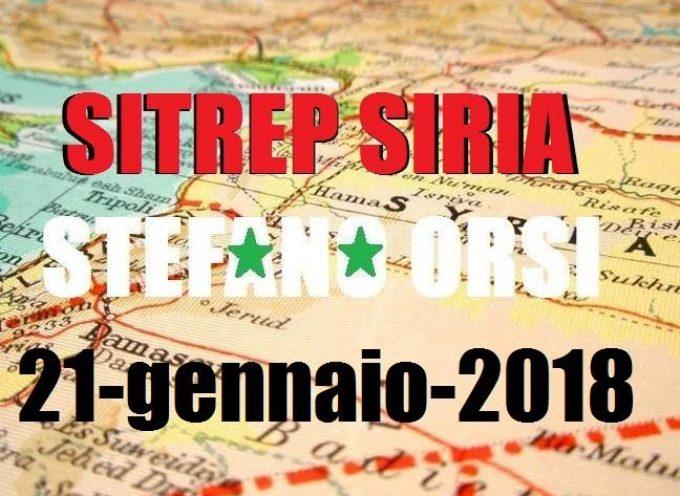 Situazione operativa sui fronti siriani del 21-1-2018