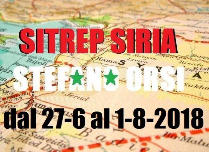 Situazione operativa sui fronti siriani del 5-8-2018, il bollettino n. 151
