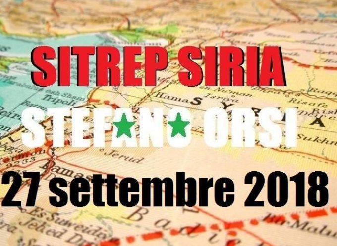 Situazione operativa sui fronti siriani al 27-9-2018
