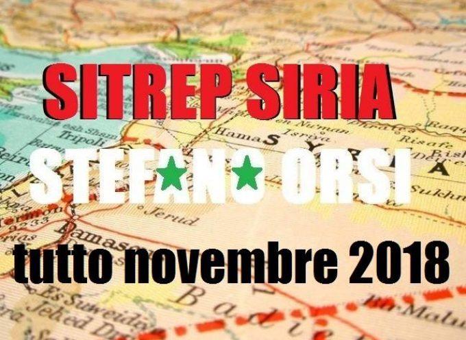 Situazione operativa sui fronti siriani, riepilogo novembre 2018